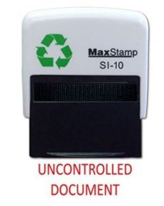 'UNCONTROLLED DOCUMENT' Self Inking Stamp - 36 x 13mm - Handy Pocket Stamp