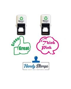 Green Great/Think Pink - Twin Pack of Motivational Teacher Stamps