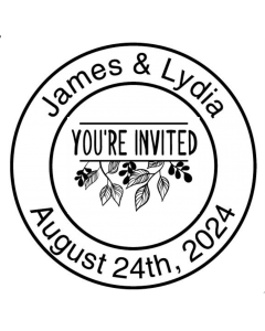 SAVE THE DATE 40MM CUSTOM STAMP - You're Invited Vine