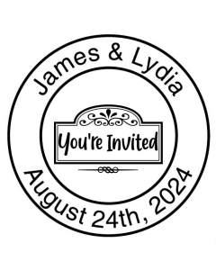 SAVE THE DATE 40MM CUSTOM STAMP - You're Invited Wreath