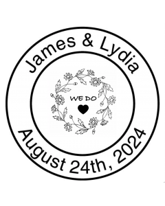 SAVE THE DATE 40MM CUSTOM STAMP - We Do Wreath
