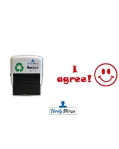 I AGREE - Smiley Face Self-Inking Teacher Reward Stamp 36mm x 13mm