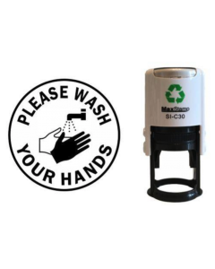 PLEASE WASH YOUR HANDS SELF INKING (ROUND WITH IMAGE)
