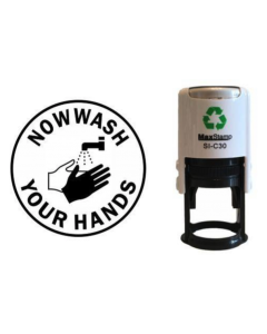 NOW WASH YOUR HANDS SELF INKING (ROUND WITH IMAGE)