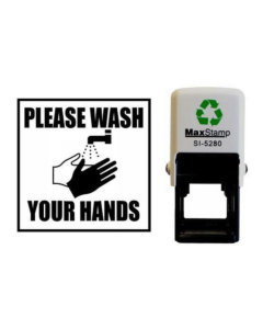 PLEASE WASH YOUR HANDS SELF INKING (SQUARE WITH IMAGE)