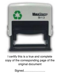 'True & Complete Copy' - Self-Inking MaxStamp