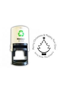 Circular Christmas tree custom card / envelope self inking stamp (41mm)