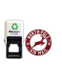 Circular North Pole reindeer Christmas Card / Envelope self inking stamp (28mm)